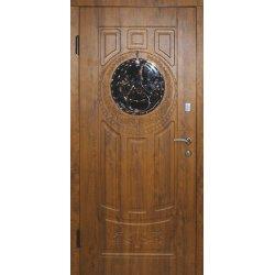 Входная дверь Портала Элегант Модель 4 орех темный с ковкой и стеклом