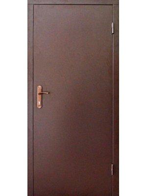 Полуторная техническая дверь 2 листа металла RAL8017