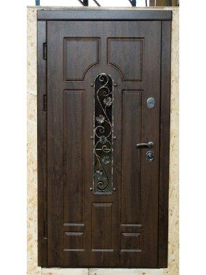 Дверь Вип+ Готика с ковкой №1 дуб бронзовый /дуб выбеленный