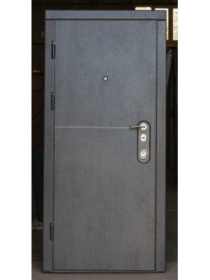 Дверь Элит Mottura горизонт темный бетон/бежевий бетон с узким молдингом